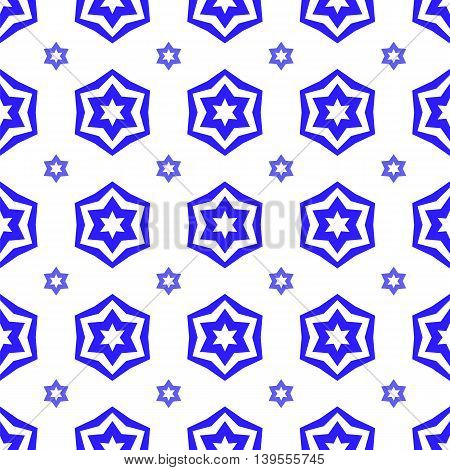 Blue David Star  Seamless Background. Jewish Symbol of Religion