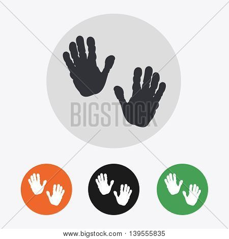 Hand drawn handprints icons set vector illustration
