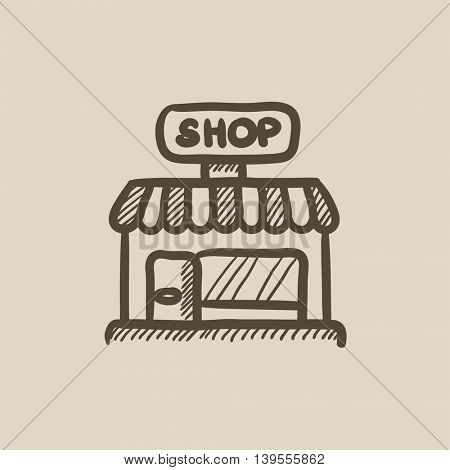 Shop vector sketch icon isolated on background. Hand drawn Shop icon. Shop sketch icon for infographic, website or app.