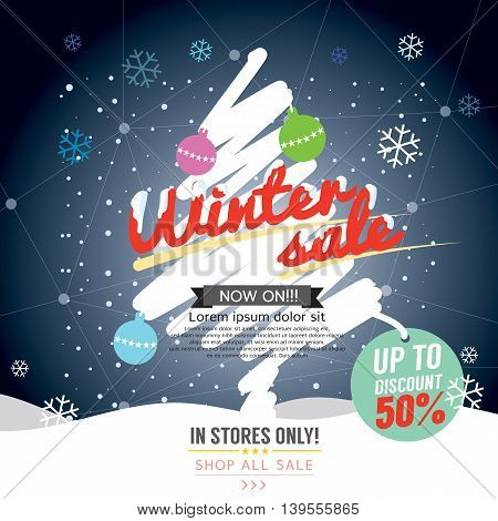 Winter Sale 50 Percent Banner Vector Illustration. EPS 10