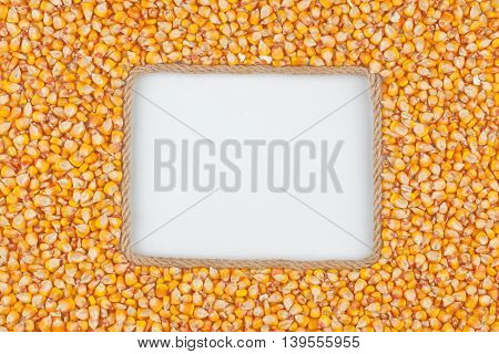 Frame made of rope with corn grains and a white background with space for your text
