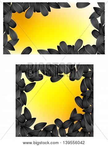 Set background with sunflower seeds. Vector illustration