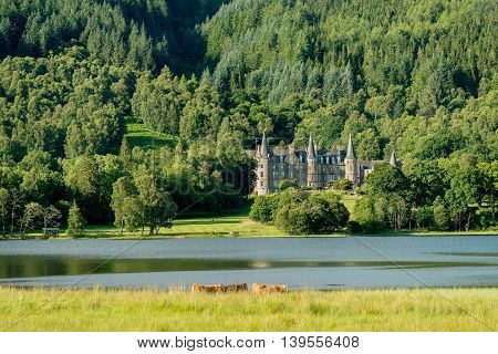 CALLANDER SCOTLAND - JULY 21 2016: Tigh Mor Trossachs Hotel on the banks of Loch Achray in Scotland. The hotel is part of the Holiday Property Bond portfolio.