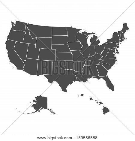 Set of US states in the map of America on a white background