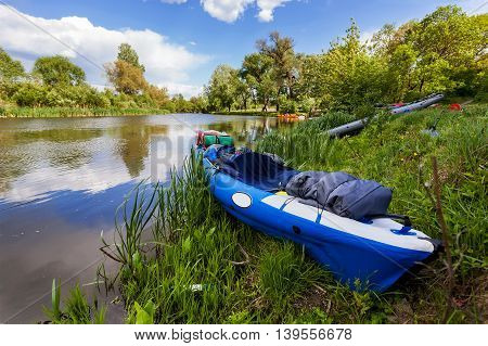 Water tourism on the river by canoe in the summer relax by the river