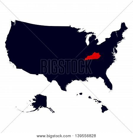 Kentucky State in the United States map vector