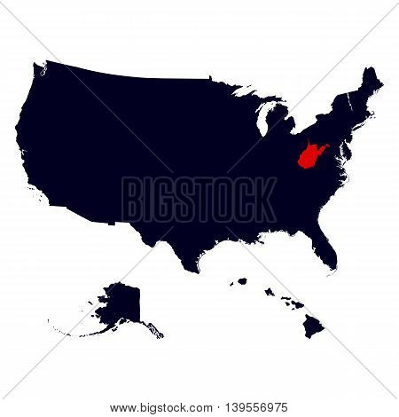 West Virginia State in the United States map vector