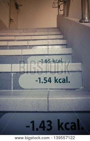 The Weight Loss Success Concept By Stair With Calorie Tag