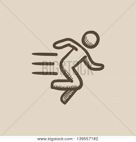 Running man vector sketch icon isolated on background. Hand drawn Running man icon. Running man sketch icon for infographic, website or app.
