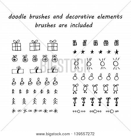 Doodleink brushes and hand drawn decorative elements - giving boxes bells stars balls trees etc. Grunge style. Brushes are included.