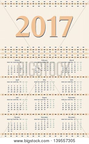 2017 year calendar template with decorative calligraphic dividers blue and peachy colors.