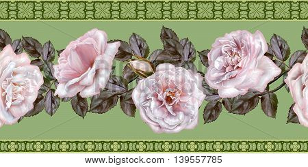 Pattern seamless. Old style. Fine weaving mosaic. Vintage background.Horizontal floral border.Garland of pale pink and pastel roses.
