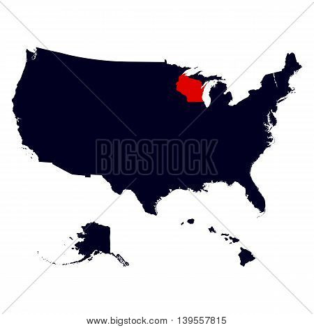 Wisconsin State in the United States map vector