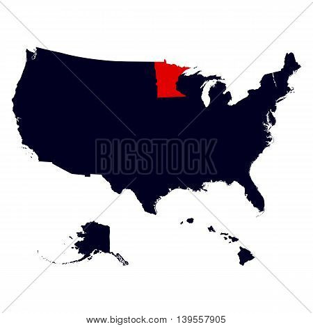 Minnesota State in the United States map vector