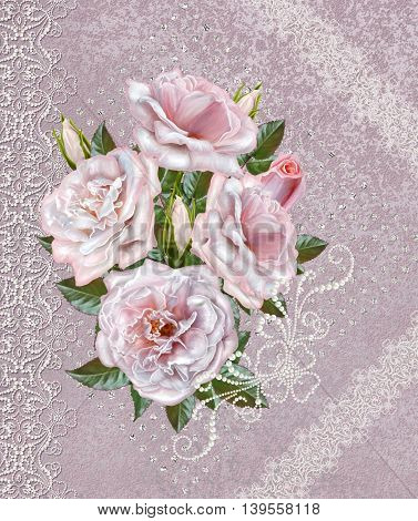 Vintage postcard. Old style. Bouquet pink roses on a pastel background invitation card. Lace openwork weaving delicate frame.