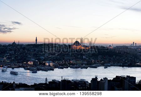 Sunset time to Istanbul city in Turkey
