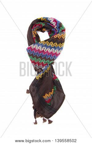 Colorful arabic scarf isolated on white background