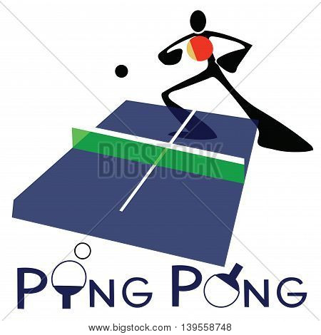 Table Tennis or Ping Pong sport games logo and symbol Shadow man cartoon design.