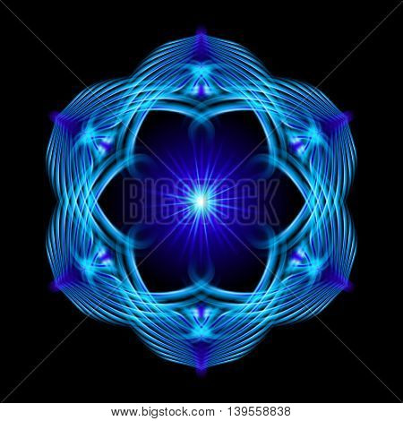Blue shiny glossy flame ornate decorative floral pattern with image of the sun in the center on the black background. Six patterns in different directions.
