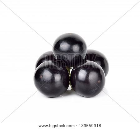 Black Grape Isolated On The White Background