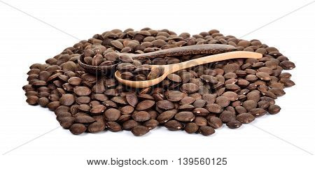 Sacha Inchi Peanut Seed With Wooden Spoon Isolated