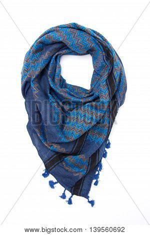 Blue arabic scarf isolated on white background