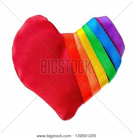 concept gay culture symbol with manually stitched red heart shape tied with ribbon flag sign LGBT community is isolated on white background close up