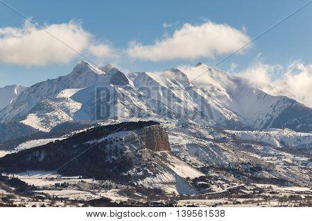 Chapeau de Napoleon just after snowfall with the Arche Aiguille and Piolit peaks. Ecrin National Park Hautes Alpes France
