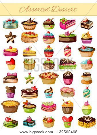 vector illustration of Assorted Dessert Product Food Collection
