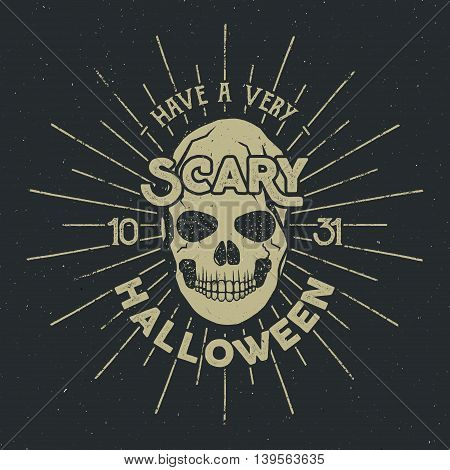 Halloween 2016 party label template with skull, sun bursts and typography elements on dark background. Vector text with retro grunge effect. Stamp for scary holiday celebration. Print on t shirt, tee.