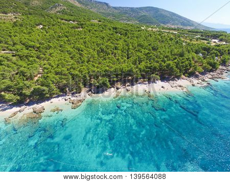 Aerial view of coastline of Brac island close to Bol, Croatia