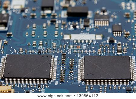 Close up shot of an electronic circuit board