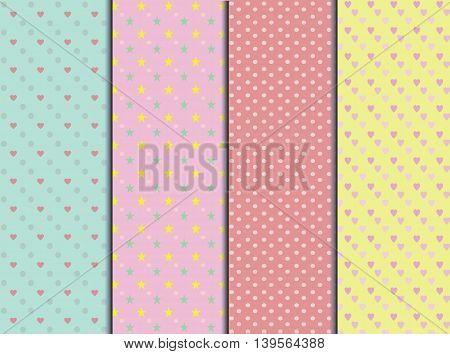 seamless sweet color  pastel style set .