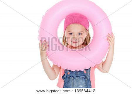 Happy Child With Inflatable  Circle