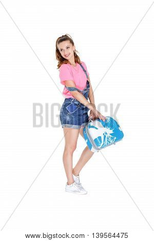 Woman  Holding Suitcase And A Passport