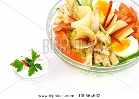 Beautiful sliced food arrangement isolated on white background