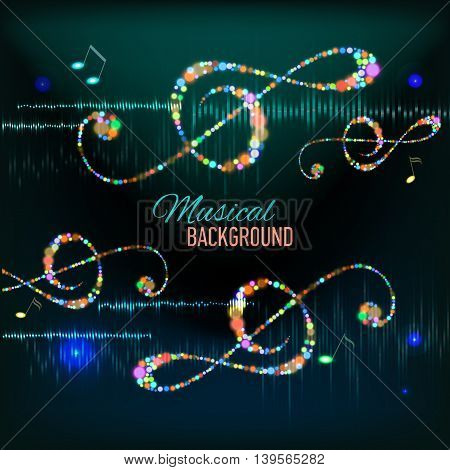 Musical background with musical key and notes and digital equalizer. Badge. Vector illustration.