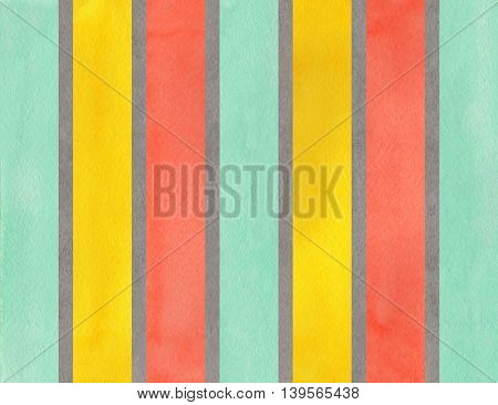 Watercolor Gray, Salmon, Yellow And Seafoam Striped Background.