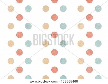 Watercolor Pink, Beige And Blue Polka Dot Background.