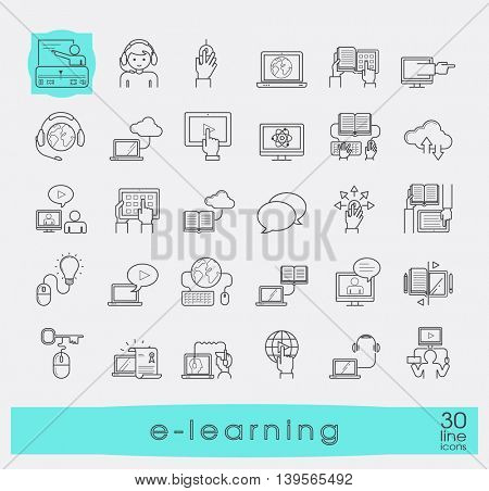 Collection of flat line e-learning icons. Icons of distance learning, cloud computing, online learning and e book.
