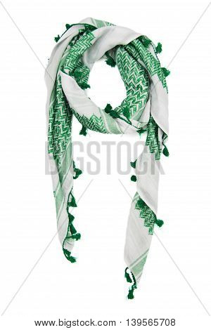 Green arabic scarf isolated on white background