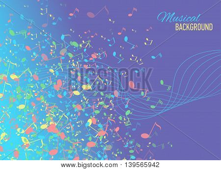 Vector abstract background with music key and notes. Banner. Designed text.