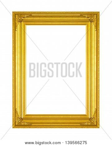 Old Antique gold frame Isolated On White Background