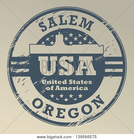 Grunge rubber stamp with name of Oregon, Salem, vector illustration