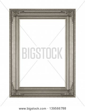 picture frame wooden Carved pattern isolated on a white background.
