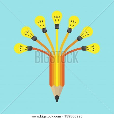 Yellow light on colored pencil on blue background. Inspiration idea and insight concept. Flat design. Vector illustration. EPS 8 no transparency