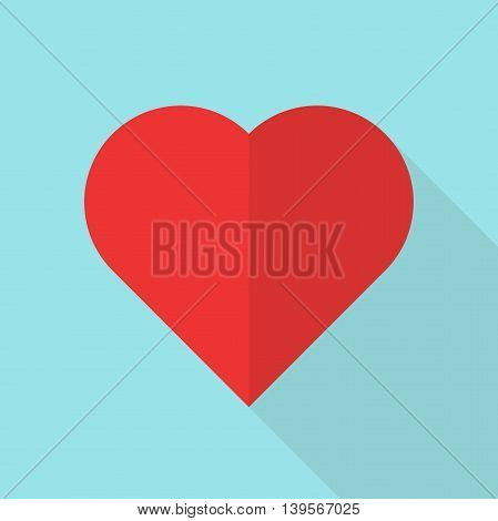 Red heart on blue background. Icon with long shadow. Love concept. Flat design. Vector illustration. EPS 8 no transparency