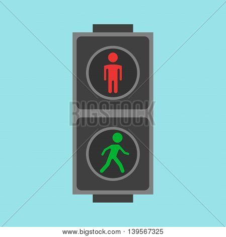Pedestrian traffic lights red and green on blue background. Flat design. Vector illustration. EPS 8 no transparency