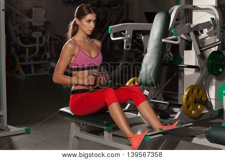 Sexy fitness woman in sport wear with perfect body in the gym. Attractive fitness trained female body. Girl in the gym
