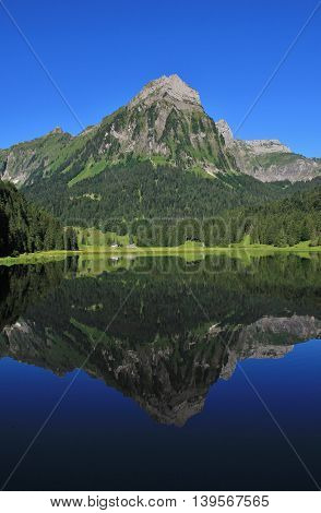 Summer day at lake Obersee. Travel destination in Switzerland.